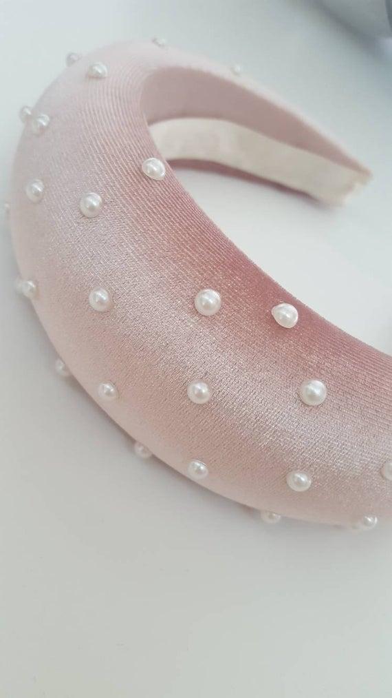 Pink headband, kate middleton style, puffy headband fascinator headband, Padded headband, Wedding party, kentucky derby hat, Fancy headband