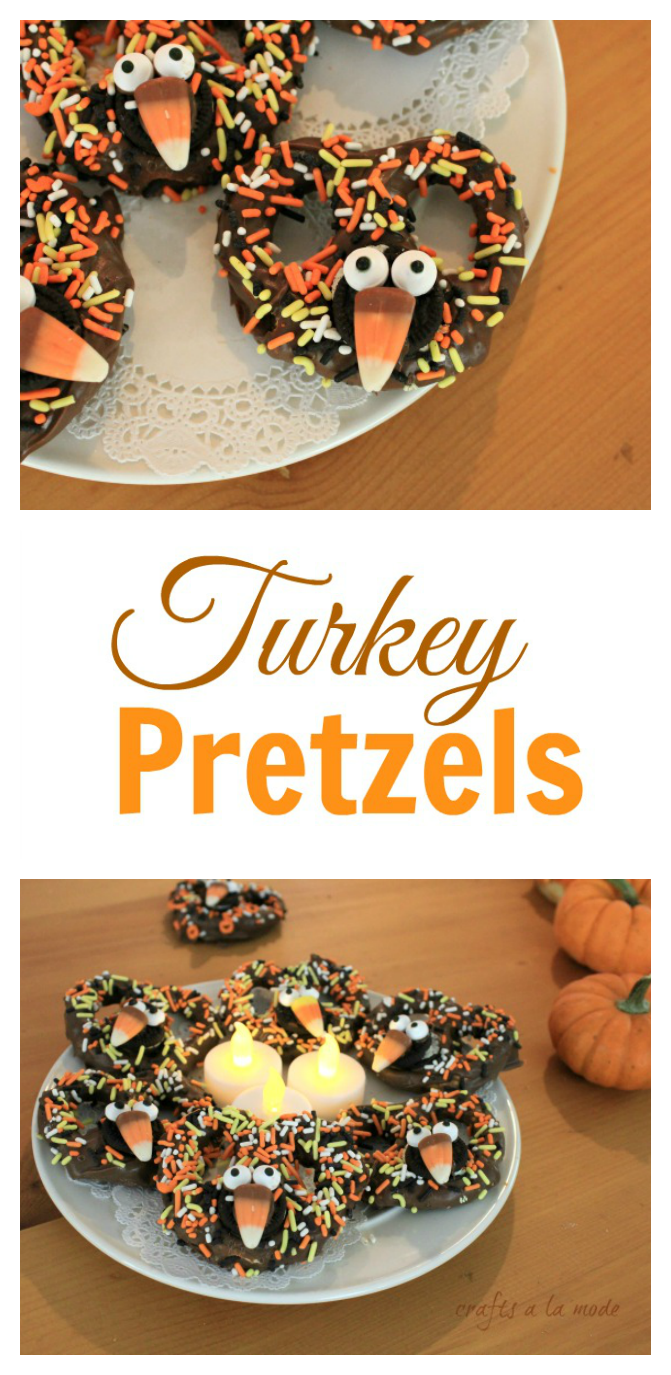 How to serve a fun dessert for some Thanksgiving fun.     These chocolate turkey pretzels are served with little battery tea lights. I'm in...