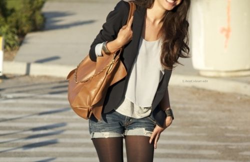Cutoffs + tights.