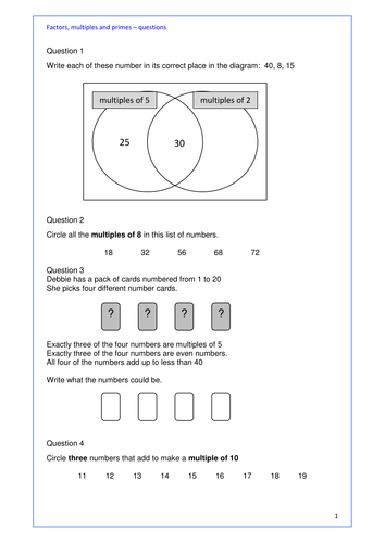 Sample Year 1 Maths Worksheets