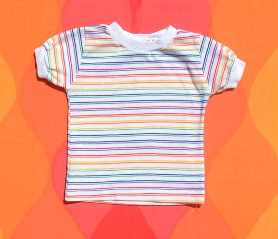 fc45a60ee vintage 80s kid's t-shirt STRIPES rainbow health tex children's baby 24  months 2T toddler 70s