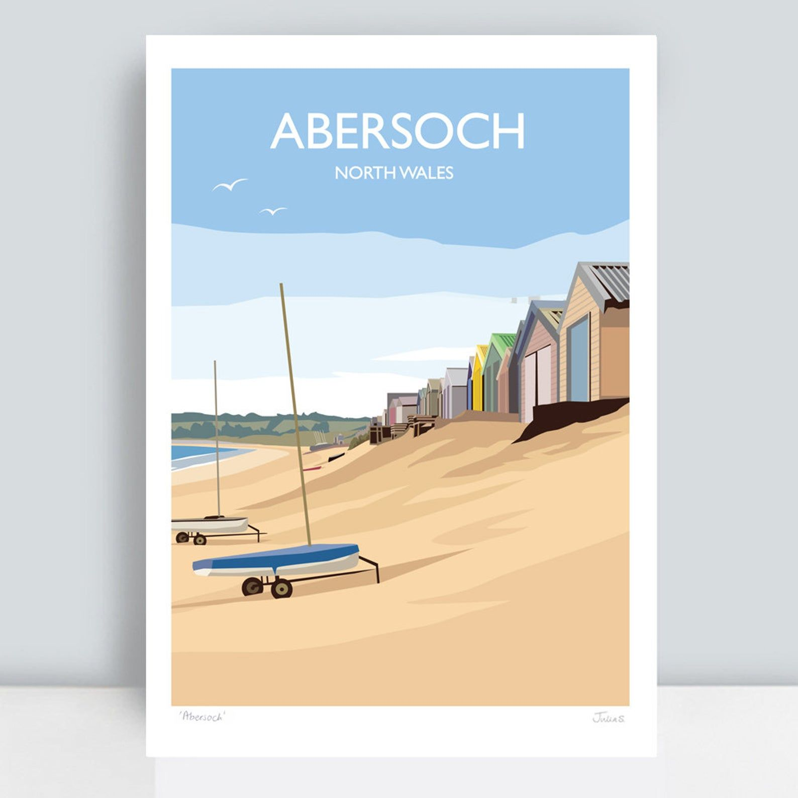 Abersoch, North Wales. HAND SIGNED Art Print/Travel Poster by JuliaSIllustration.