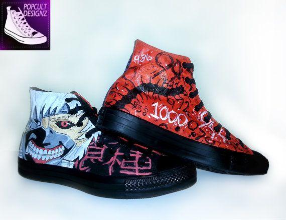 Tokyo Ghoul Kaneki Painted Canvas Converse by PopCultDesignz 653cf49f1