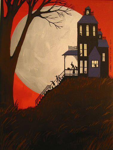 Silhouette Halloween Haunted Houses Wallpaper