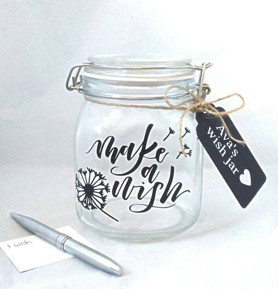 Silver Baby Wishes Glass Jar
