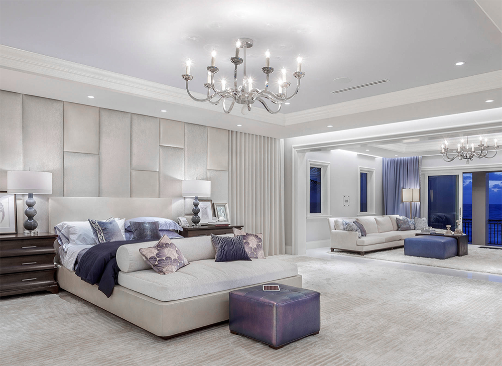 Beautiful Glamorous All White And Lavender Blue Luxury Bedroom Decor With Extra Tall Headboard Huge Huge Bedrooms Luxury Bedroom Master Lavender Bedroom Decor