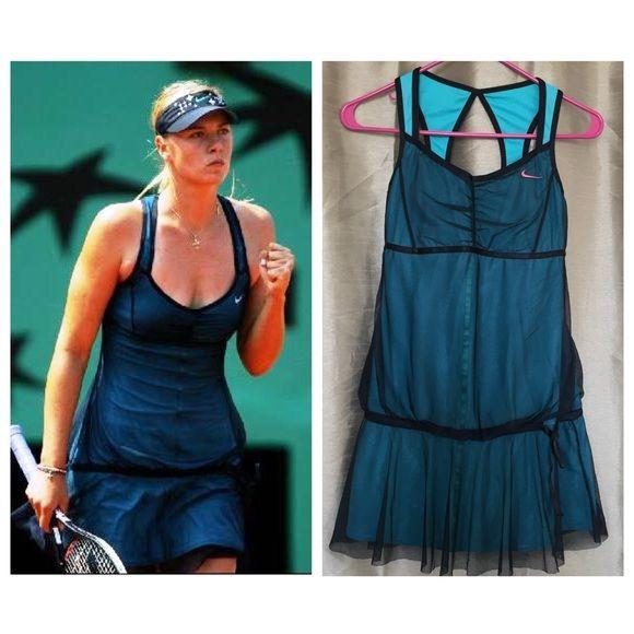 Rare Maria Sharapova Nike Blu Taffeta Tennis Dress Tennis Dress Nike Dresses Maria Sharapova