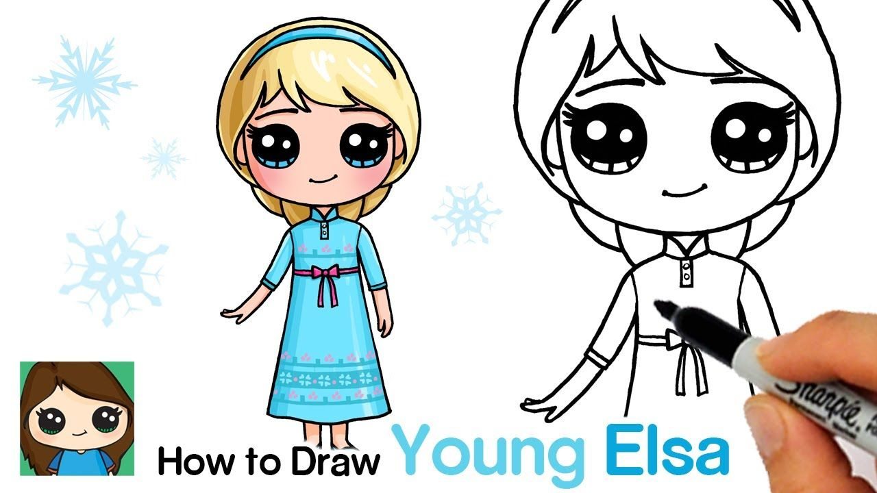 How To Draw Young Elsa Disney Frozen Youtube In 2020 Cute Kawaii Drawings Easy Disney Drawings Cute Disney Drawings