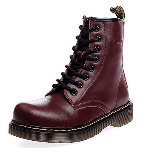various styles outstanding features uk cheap sale JACKSHIBO Women's Fashion Leather Ankle Bootie Winter Combat ...