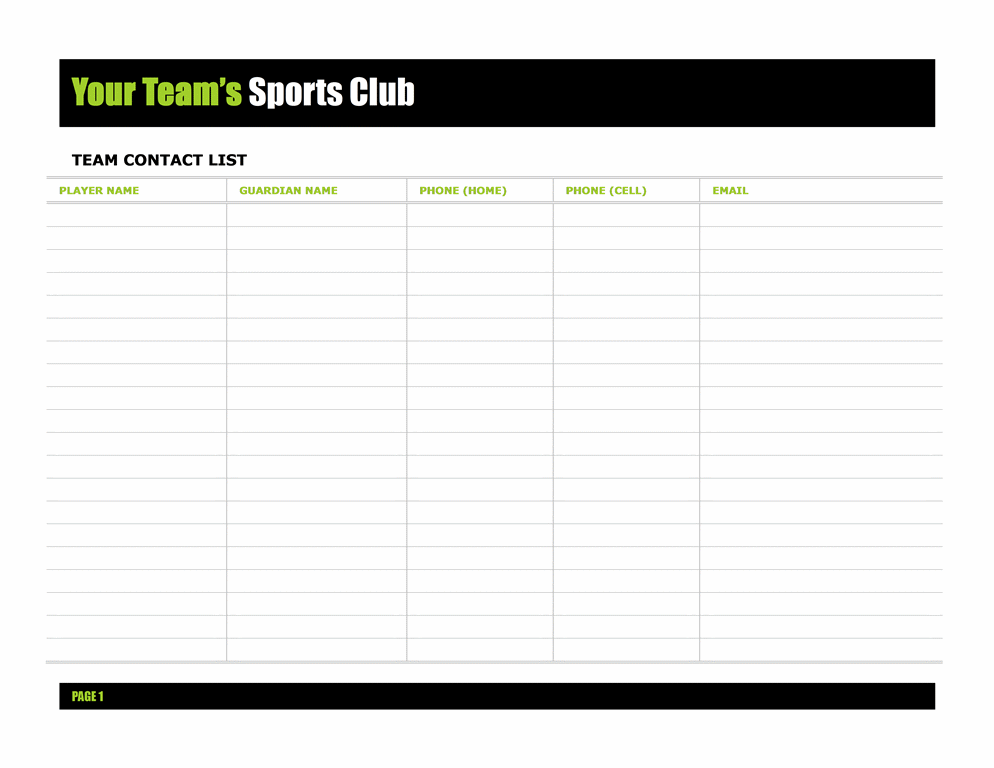 Team Contact List Template  Contact List Templates
