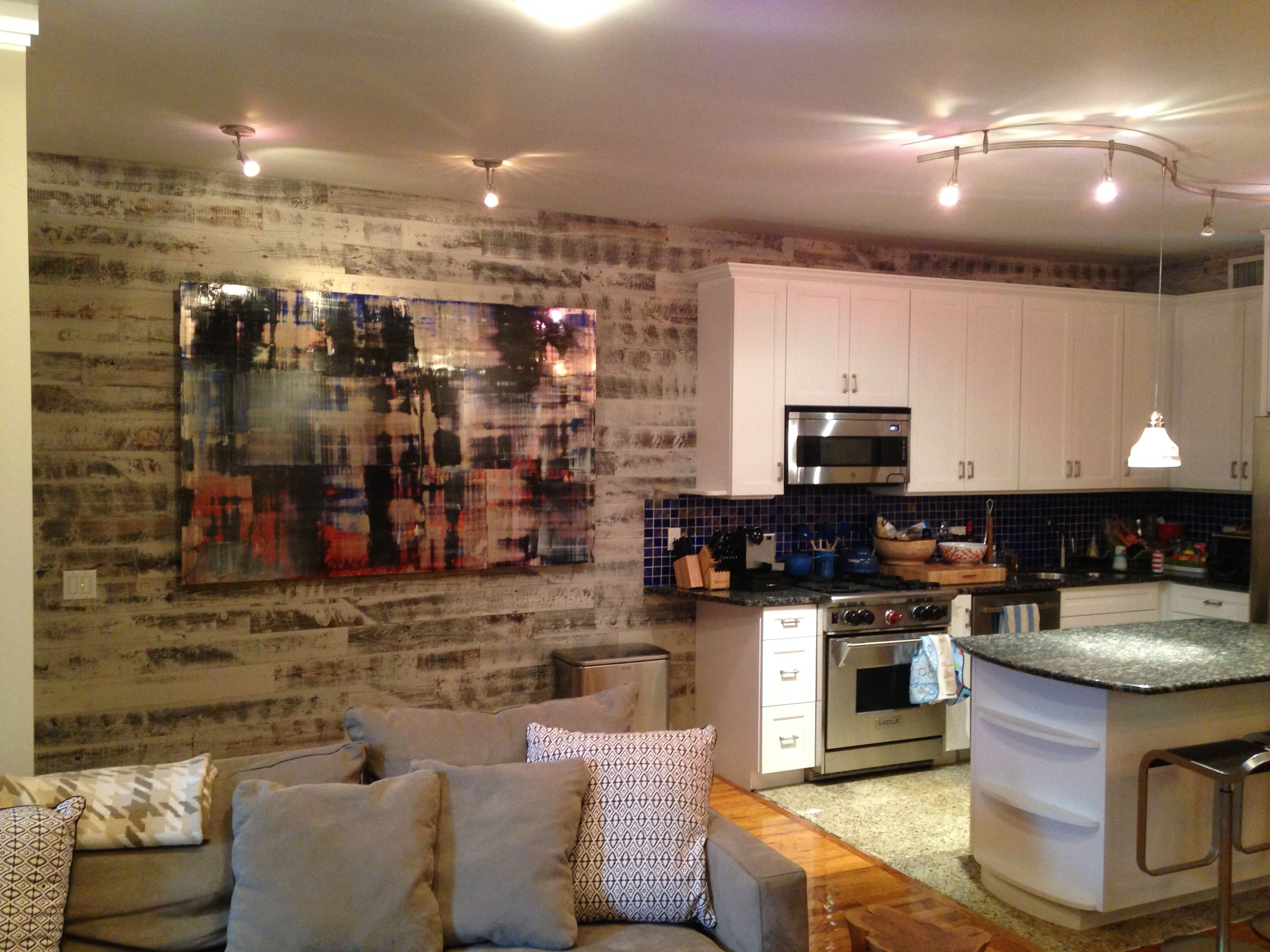 Stikwood Kitchen Accent Wall In Reclaimed Weathered Wood