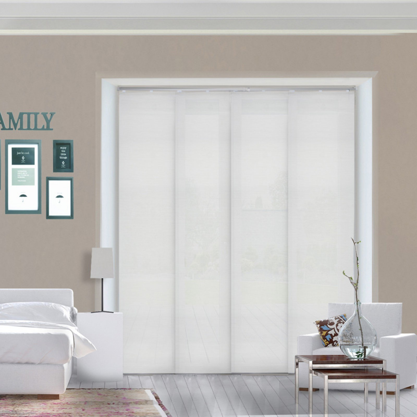 Chicology Adjustable Sliding Window Panel Daily White Blinds
