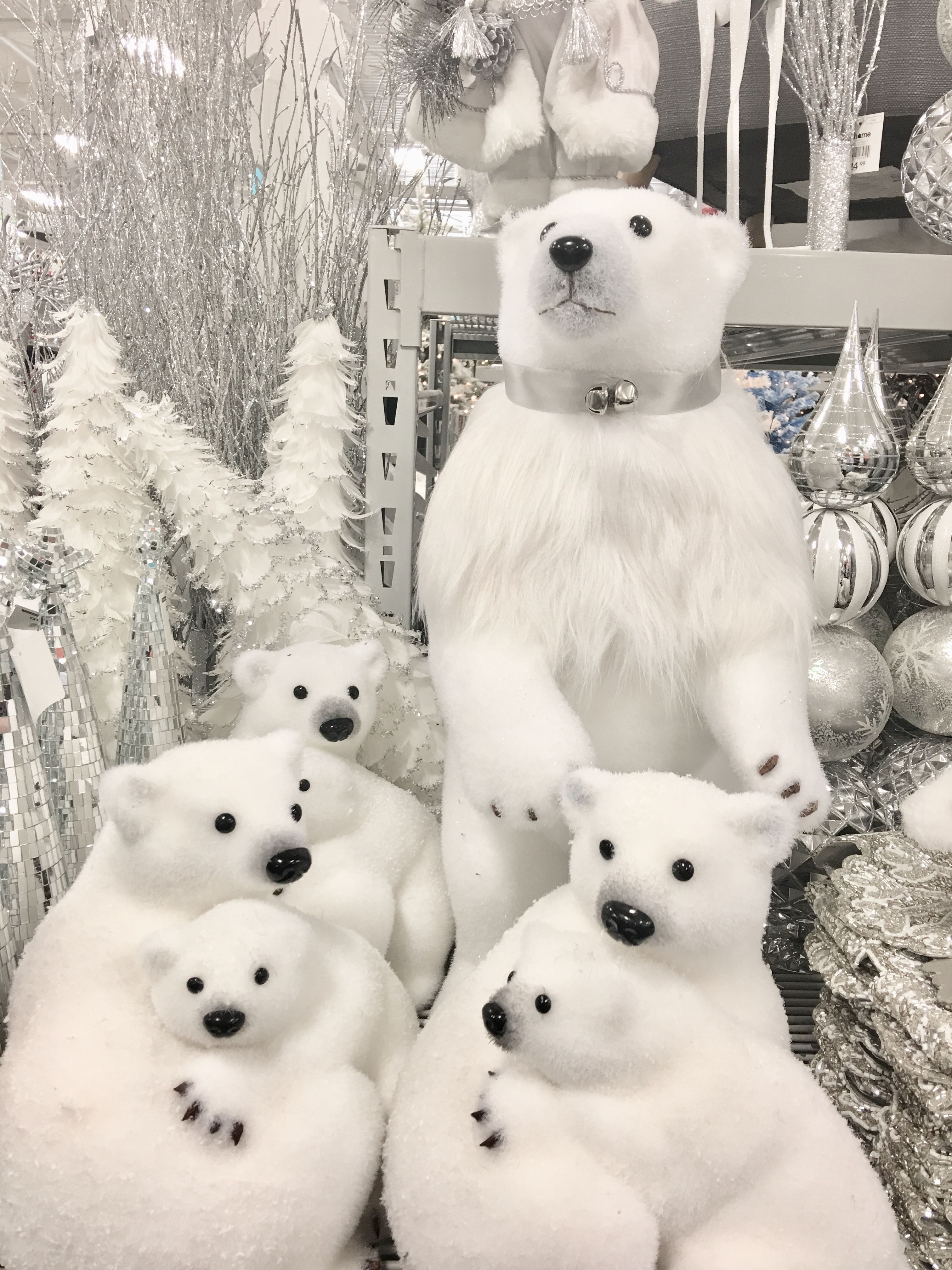 Lots Of White Polar Bears For Christmas Decor In At Athome Stores So Cute Woodland Christmas Decor Polar Bear Christmas Bear Decor
