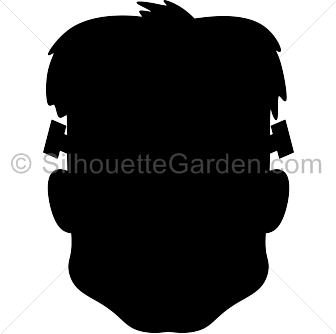 Frankenstein head silhouette clip art. Download free versions of the image in EPS, JPG, PDF, PNG, and SVG formats at http://silhouettegarden.com/download/frankenstein-head-silhouette/