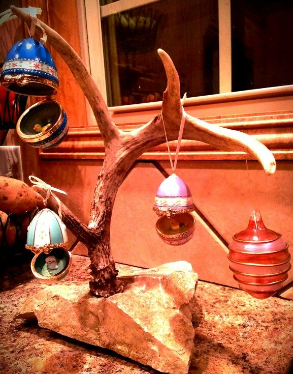 Real Deer Antler Jewelry tree turned Easter Egg Tree check out The Perfect Rack By Mindy Jane on FB