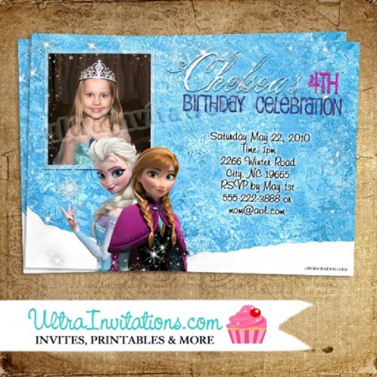 Personalized Frozen Birthday Invitations Party Invitation Card In