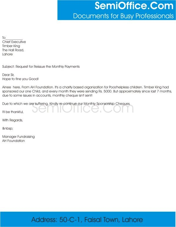 Sample Letter Requesting Payment Of Invoice