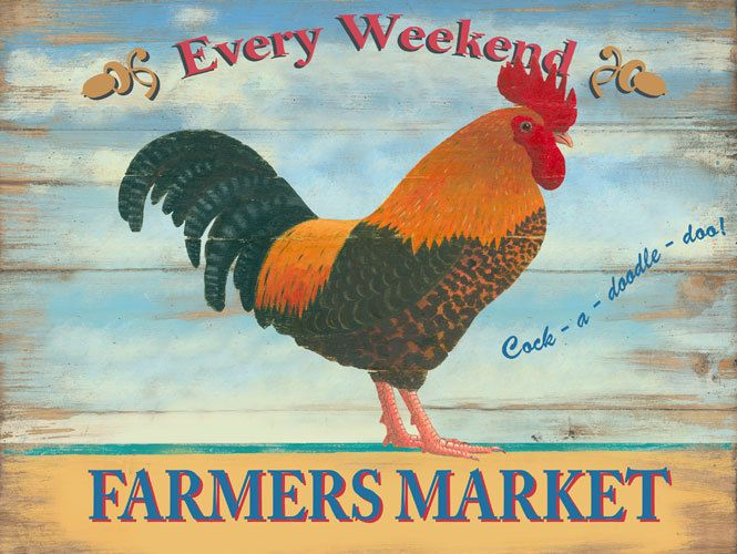 Rooster Metal Sign, Farmers Market Every Weekend, Blue Rustic Kitchen, Den Decor