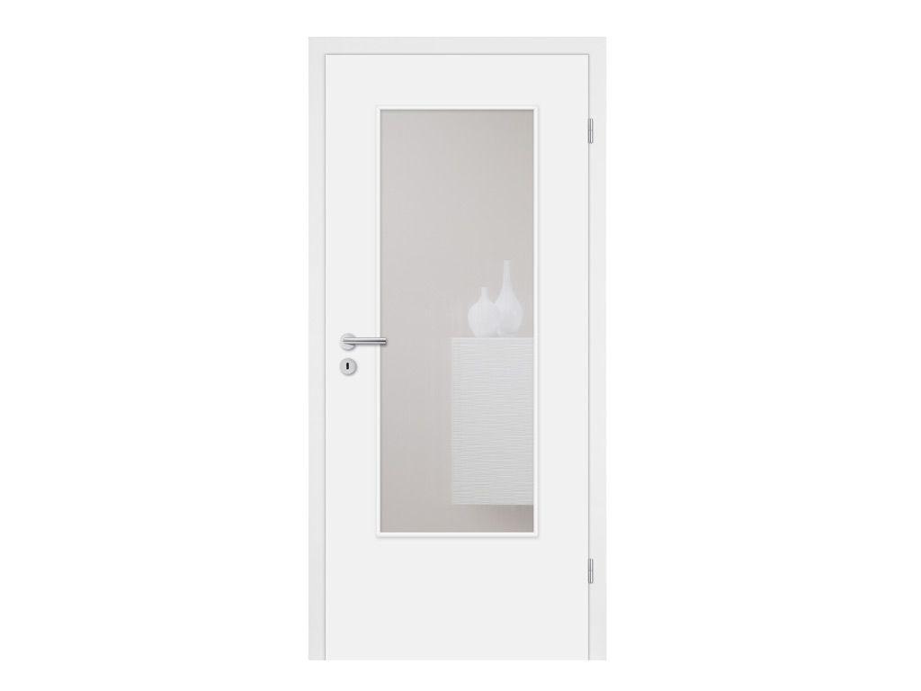 Mosel Türen Türenset CPL Weiß mit Lichtausschnitt (ohne Glas) -Türblatt, Zarge, Drückergarnitur – BxH: 86×198,5cm, DIN Rechts, 80-97mm Wandstärke,…