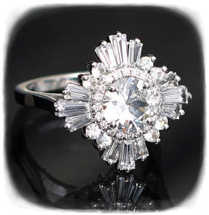 Gatsby Ring White Sapphires Art Deco Sapphire Ring Stunning Diamond Rings White Sapphire Ring