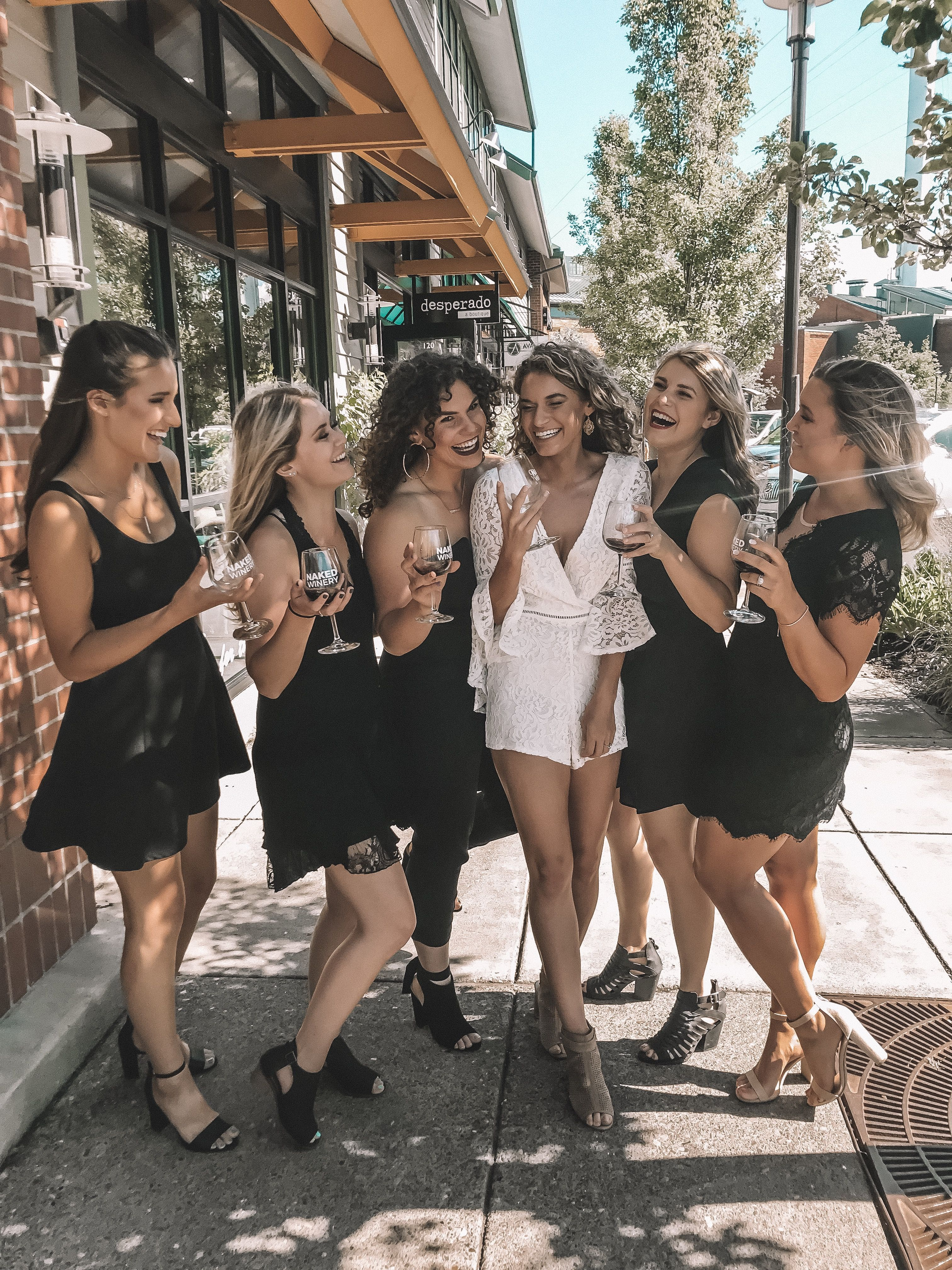 Wine tasting bachelorette party. Outfit inspiration for