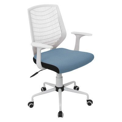 Symple Stuff Mid Back Mesh Desk Chair Upholstery: White / Blue