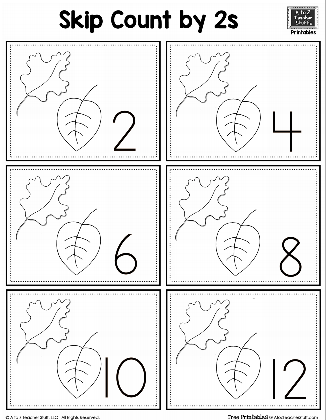 leaf skip counting by 2 a to z teacher stuff printable pages and worksheets school plants. Black Bedroom Furniture Sets. Home Design Ideas