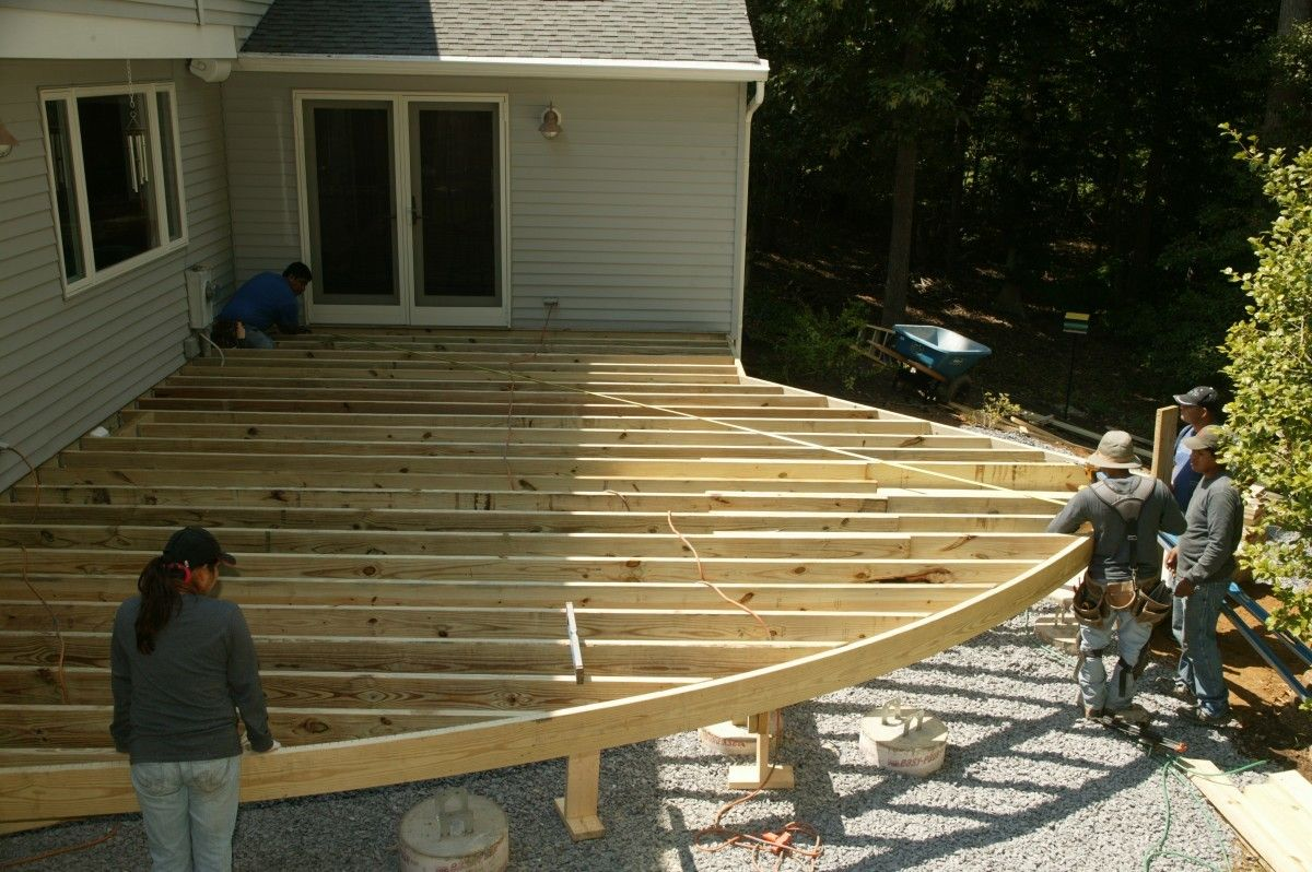 Curved deck designs are becoming popular. Composite decking and PVC can be  bent to fit