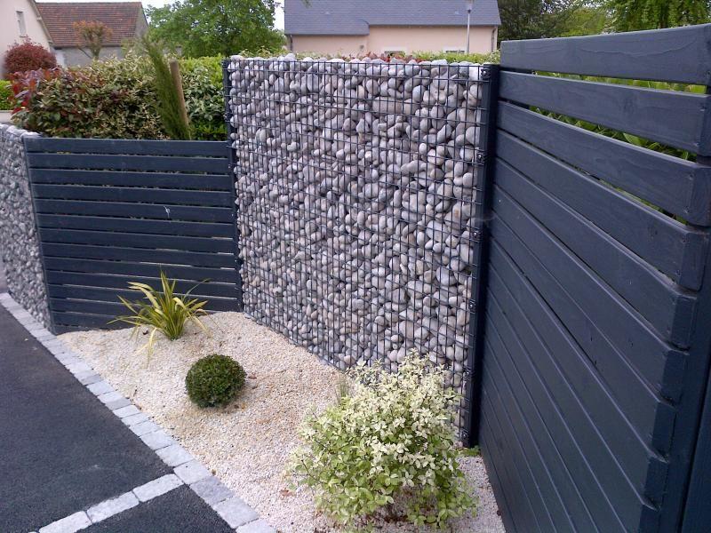 cloture avec alternance gabion-palissade bois | arrangement jardin ...