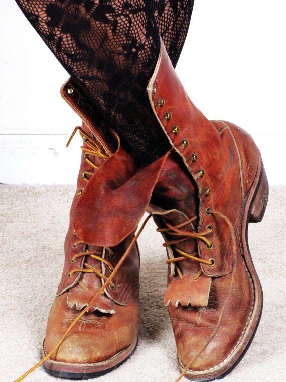 02673eca3a227 vintage distressed keltie lace up granny combat military ankle ...