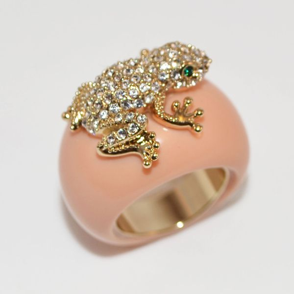 TIANA $52.66 Coral resin crystal pavé frog ring.