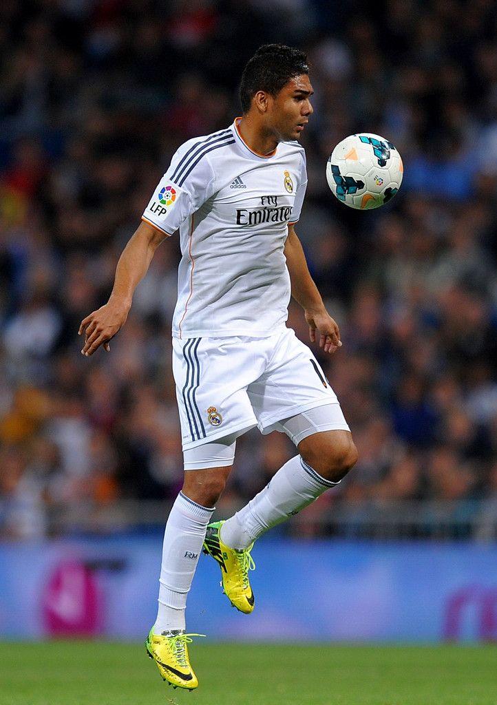 Casemiro controls the ball during the La Liga match between Real Madrid CF and UD Almería at Estadio Santiago Bernabéu on April 12, 2014 in Madrid, Spain.