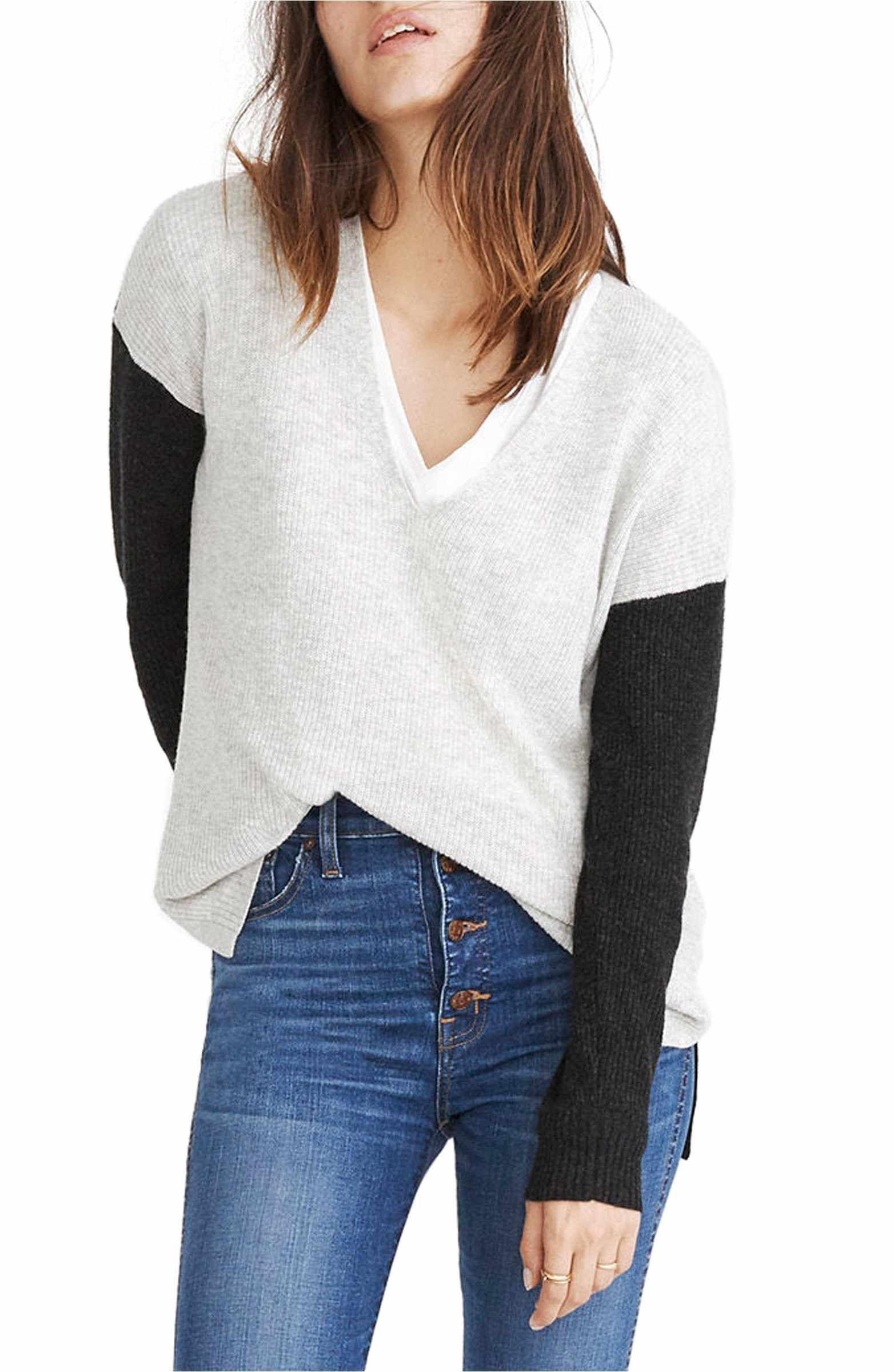 58320f4059 Main Image - Madewell Warmlight Colorblock V-Neck Sweater