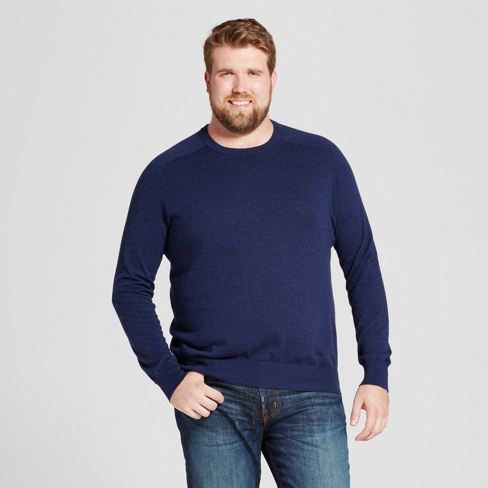 319ccce883350 Men s Big   Tall Standard Fit Crew Neck Sweater - Goodfellow   Co Navy  (Blue) Xlt