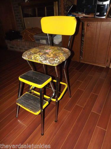 Vtg 1940 Cosco Yellow Chrome Metal Chair Stool High Chair