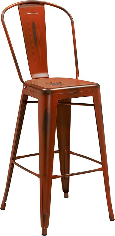 Excellent 30 High Distressed Orange Metal Indoor Outdoor Barstool Creativecarmelina Interior Chair Design Creativecarmelinacom