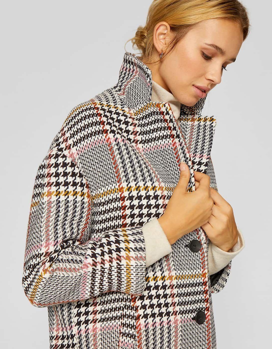 patrones de moda barato mejor valorado 100% originales Abrigo manga caida cuadros - Abrigos de mujer | Stradivarius ...