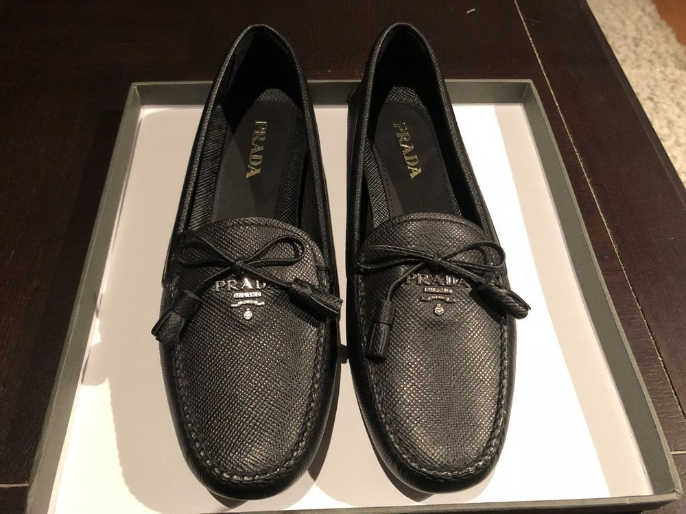 c3c8d0a5dae New Prada Black Saffiano Leather Womens Flats Driving Moccasin Loafer Size  37  fashion  clothing  shoes  accessories  womensshoes  flats (ebay link)