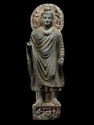 Buddha Sakyamuni. Pakistan, Gandhara, 2nd/3rd century. Schist. Height: 33 inches (83.8 cm).