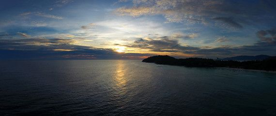 Aerial panorama of beauiful sunset sky over sea
