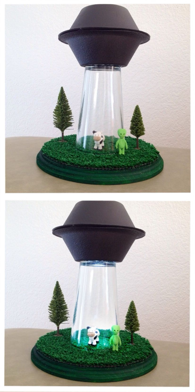 Alien Abduction Lamp! Cutest Thing Ever. Made This For My Little Brother.  All