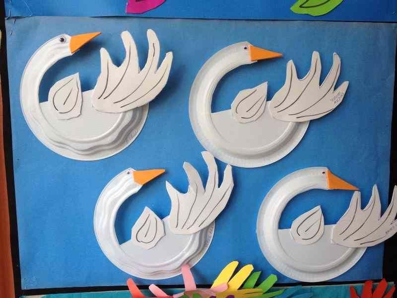 paper plate swan craft idea tableau mains paper plate crafts for kids crafts for kids et. Black Bedroom Furniture Sets. Home Design Ideas