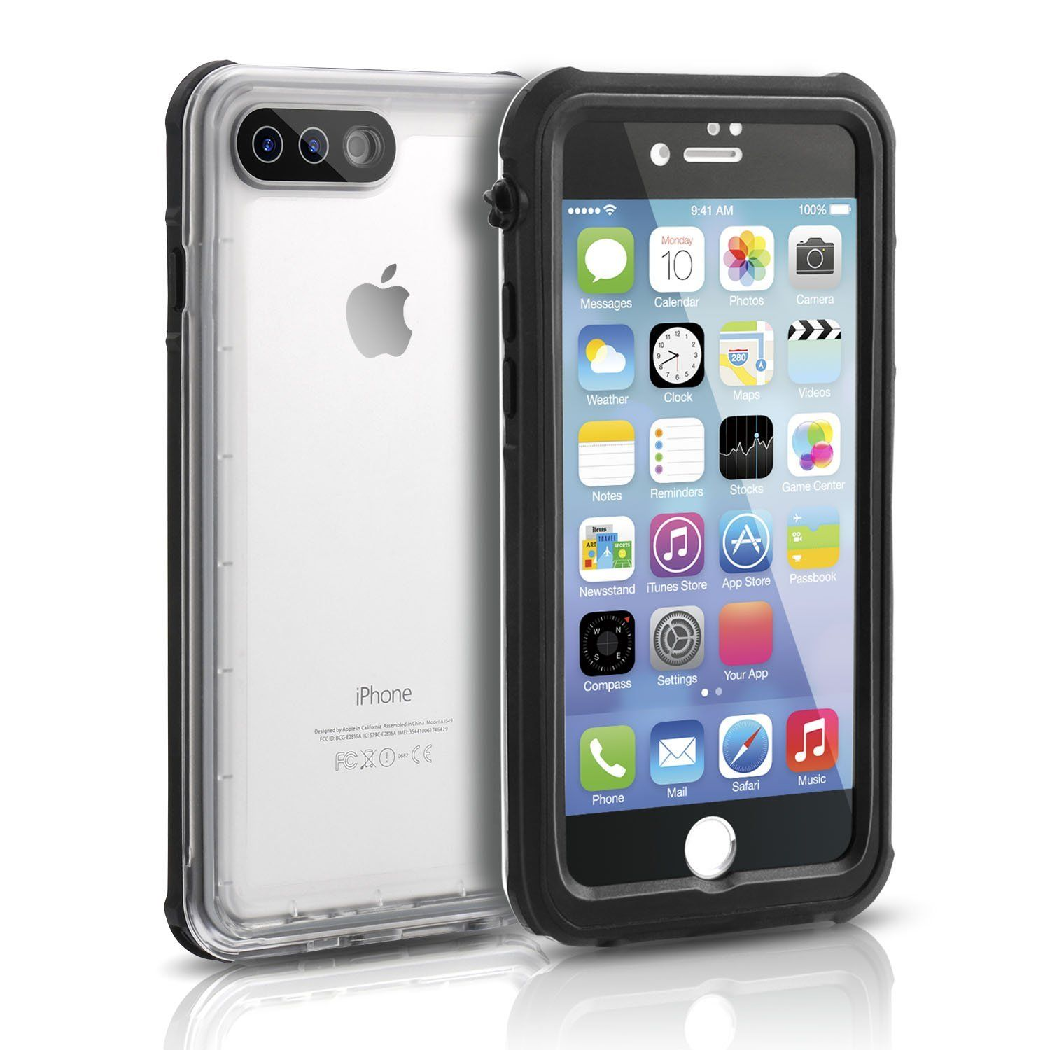 save off 28dc1 cd766 FITFORT Waterproof iPhone 7 Plus Case, Clear Full Body with Built-in ...