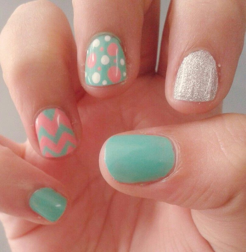 Shellac verde menta #rosa #glitter plata   diseños de uñas   Pinterest