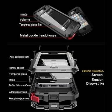 Waterproof Shockproof Aluminum Tempered Glass Cover Case For iPhone 5 - US$11.59
