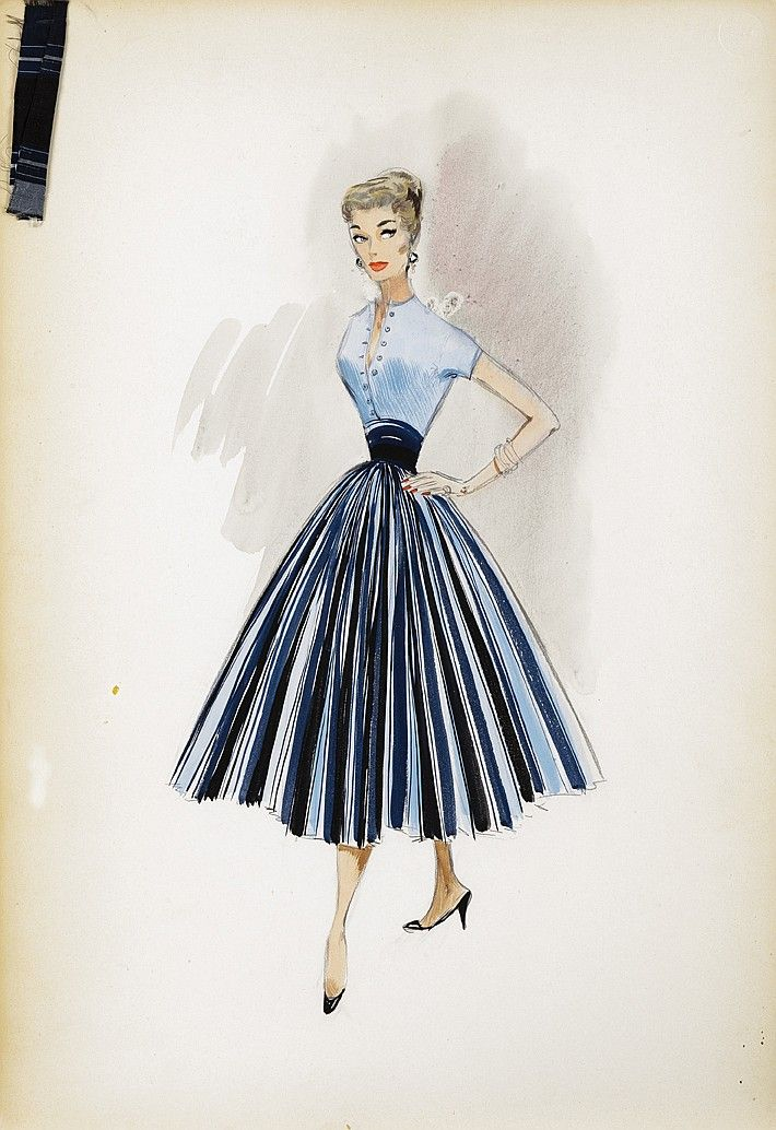 Photo of Trio of Helen Rose costume sketches