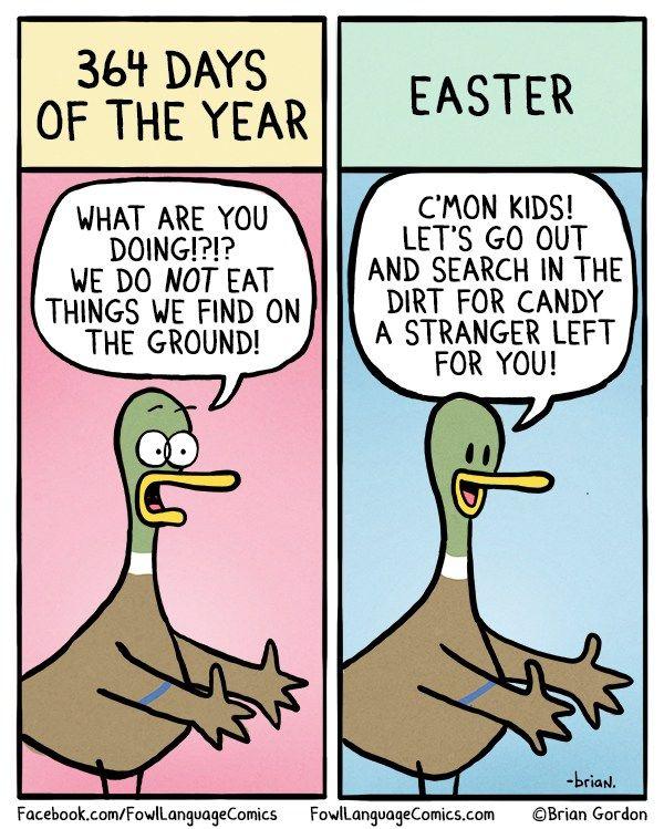 Easter Egg Hunt Fowl Language Comics Funny Easter Memes Parenting Comics Easter Humor