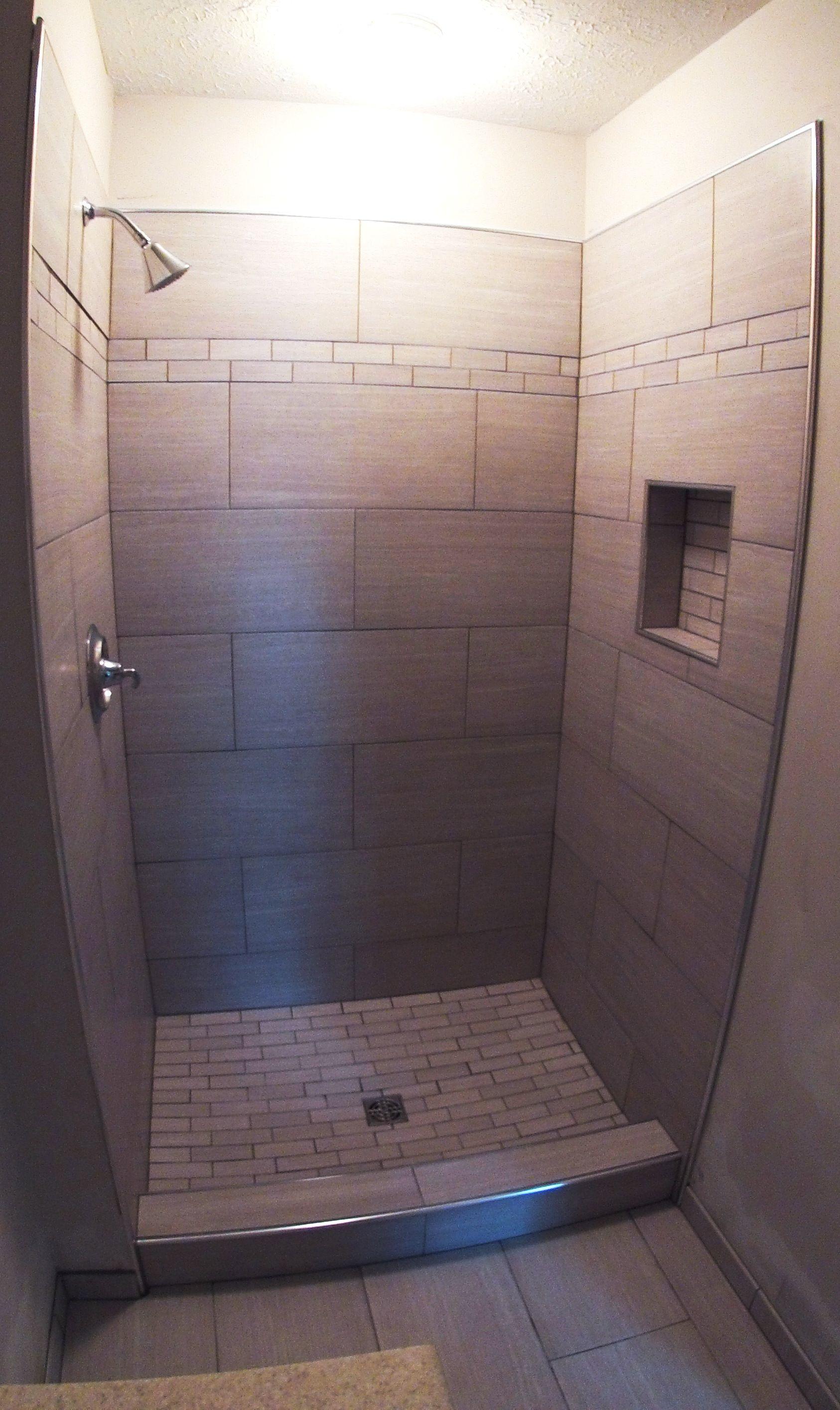 Modern shower tile by Link Renovations #linkrenovations ...