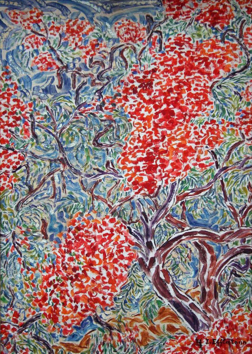 Vente samedi 5 mars 2016 par Drome Enchères à Romans-sur-Isère : Inji EFFLATOUN (1924-1989), Les Flamboyants, huile sur toile marouflée sur panneau, datée 1973, 56 x 40 cm. Estimation : 5 000 - 6 000 euros.