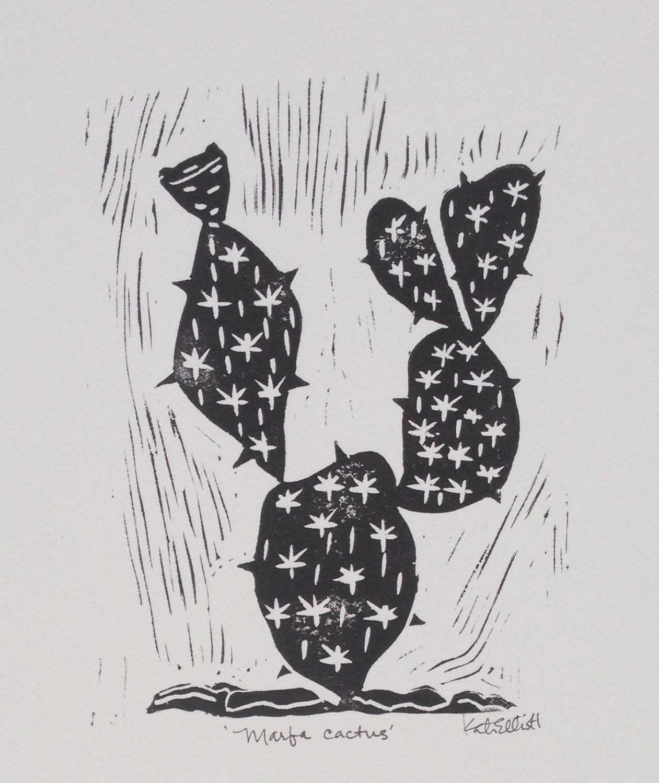 Marfa Cactus Block Print On Paper 11 X 14 By Dakinistudios